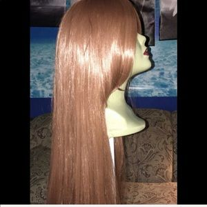 DARK REDDISH/AUBURN HUMAN HAIR BLEND XTRA LONG WIG